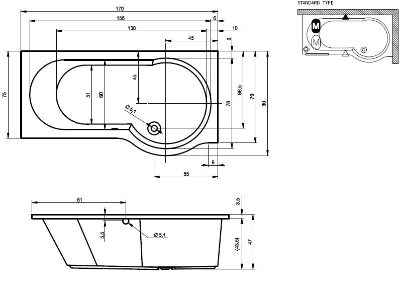 Схема ванны Riho Dorado 170x75 (Левая)