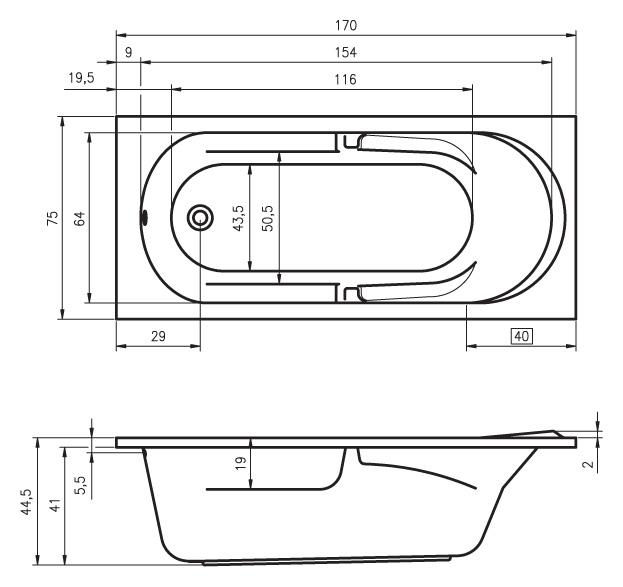 Схема ванны Riho Future 170x75