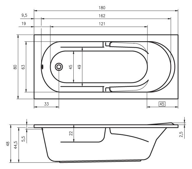 Схема ванны Riho Future 180x80