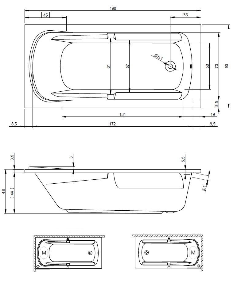 Схема ванны Riho Future 190XL