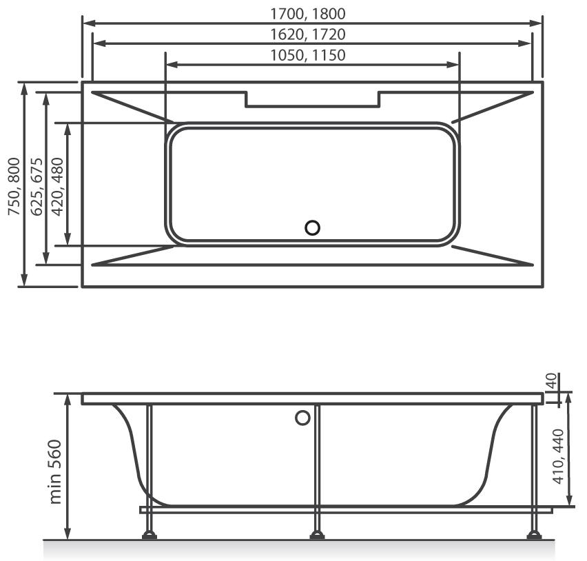 Схема ванна Vayer Casoli 170x75