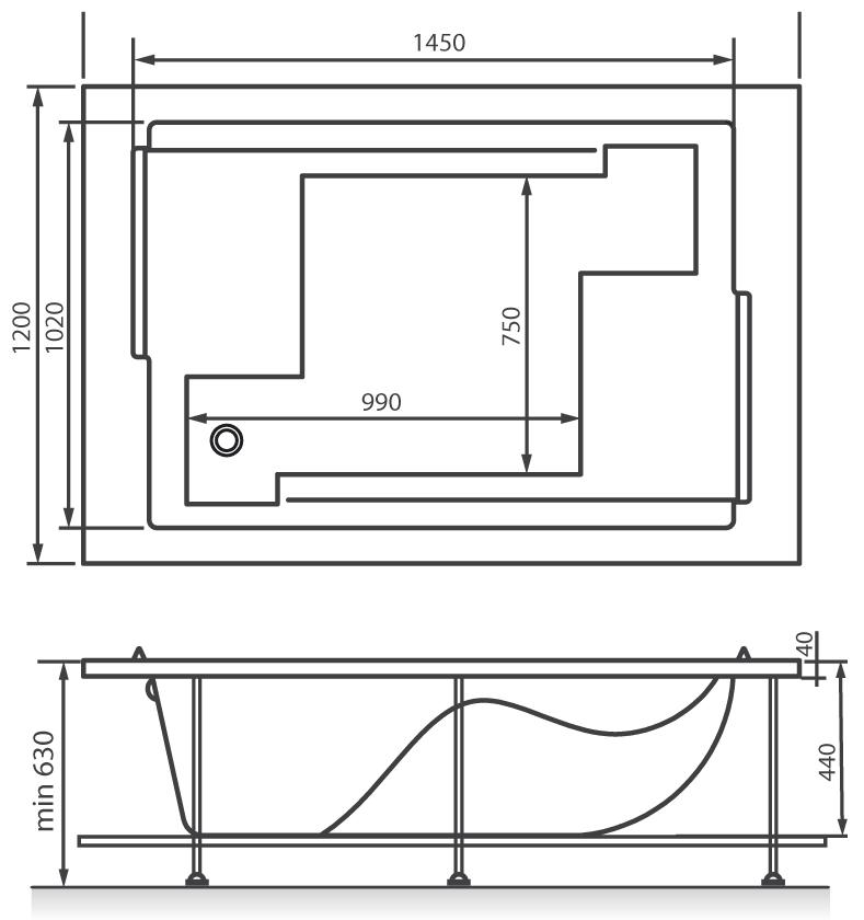 Схема ванна Vayer Coral 180x120