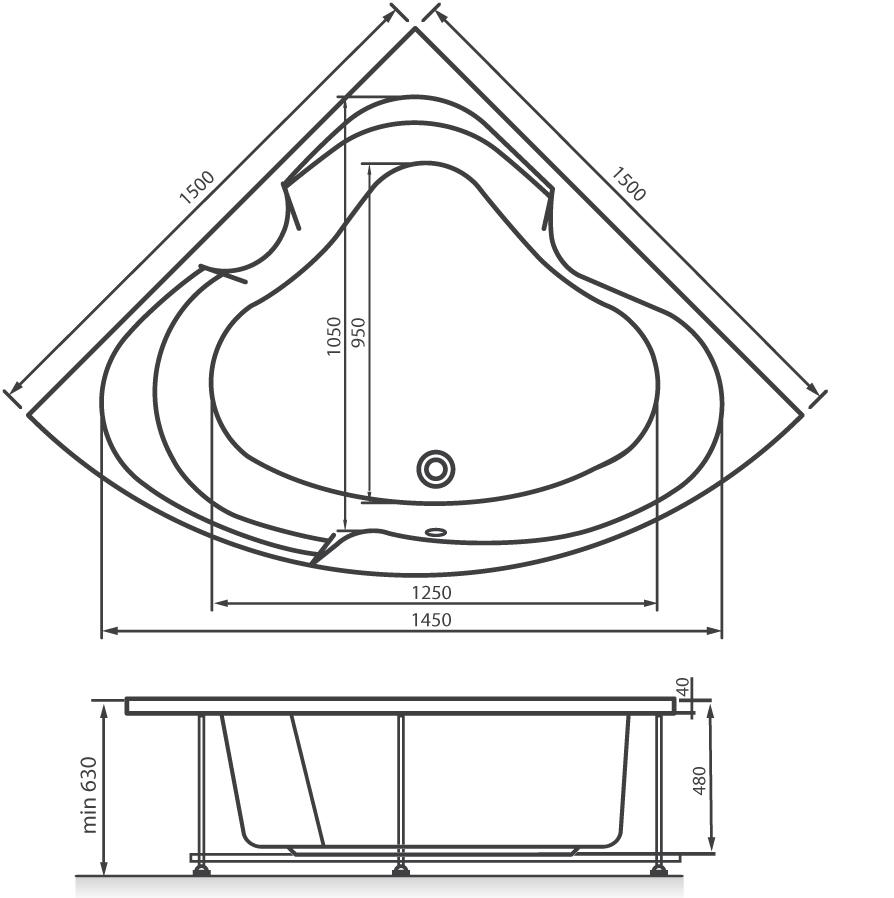 Схема ванна Vayer Iryda 150x150