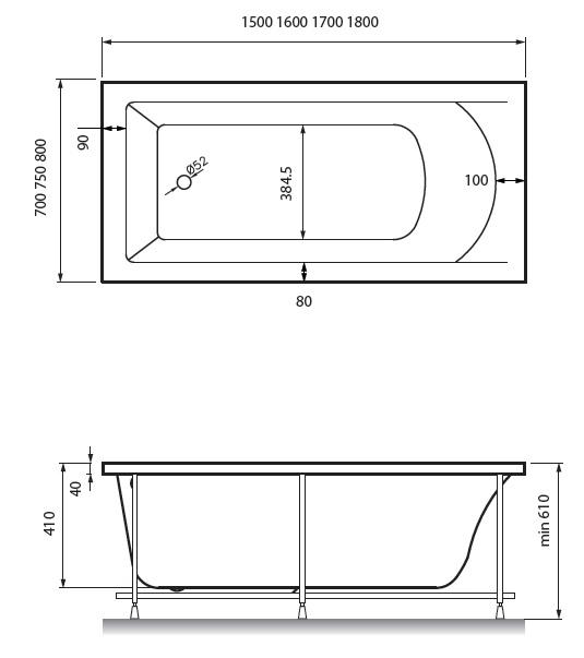 Схема ванна Vayer Savero 170x75