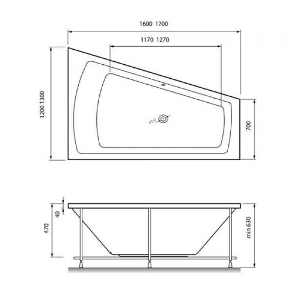 Схема ванна Vayer Trinity 170x130 (Левая)
