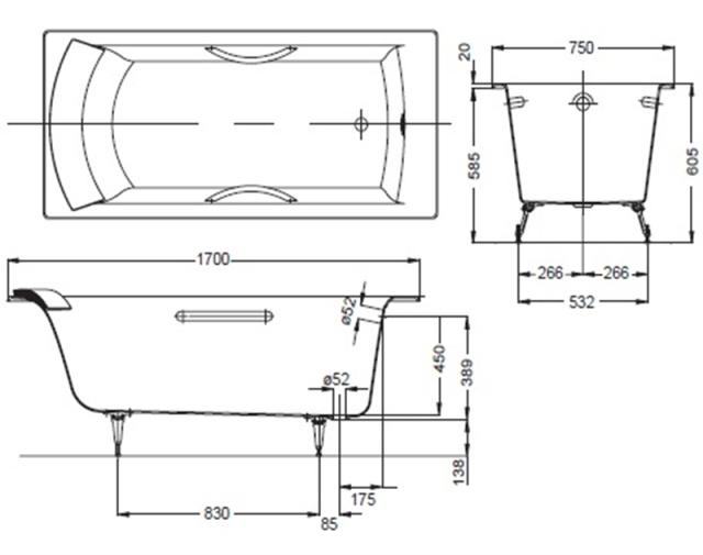 Схема ванны Jacob Delafon Biove