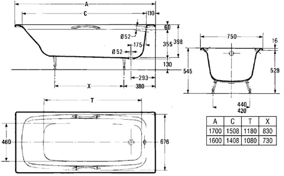 Схема ванны Jacob Delafon Diapason
