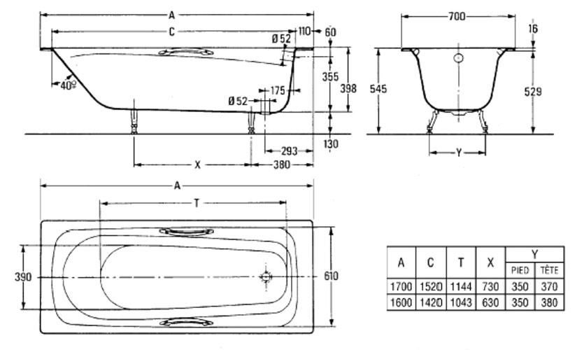 Схема ванны Jacob Delafon Melanie