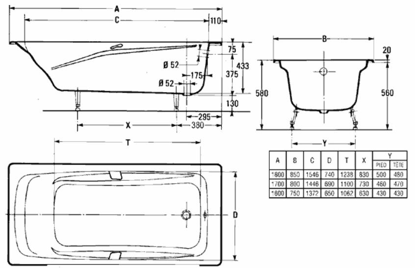 Схема ванны Jacob Delafon Repos 170x80