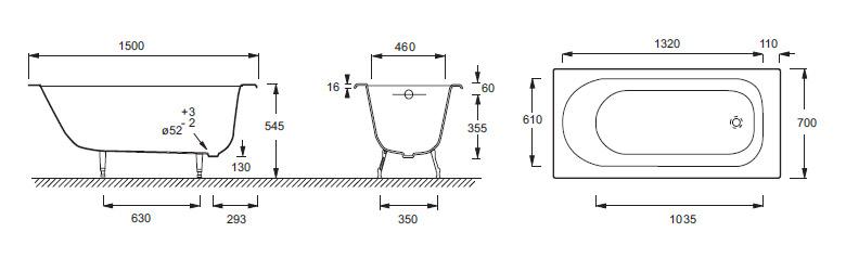 Схема ванны Jacob Delafon Soissons с гидромассажем
