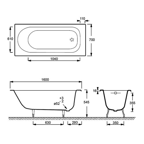 Схема ванны Jacob Delafon Soissons 160 с гидромассажем