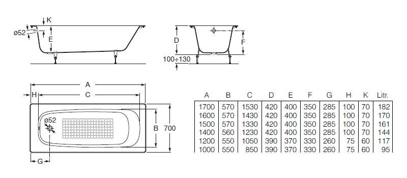Схема ванна Roca Continental