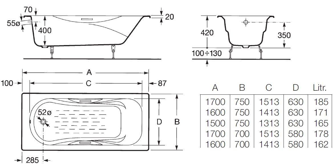 Схема ванна Roca Malibu