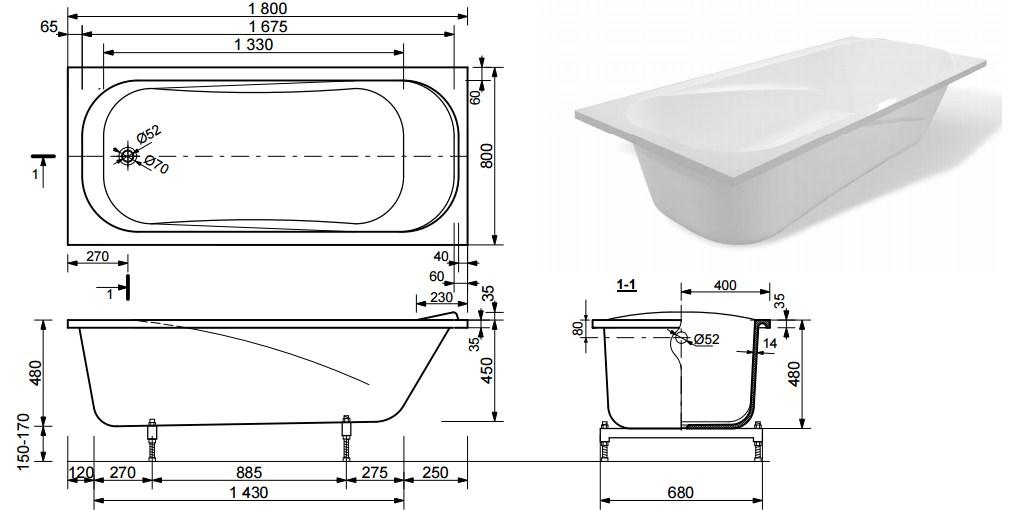 Схема ванны Эстет Альфа 180x80