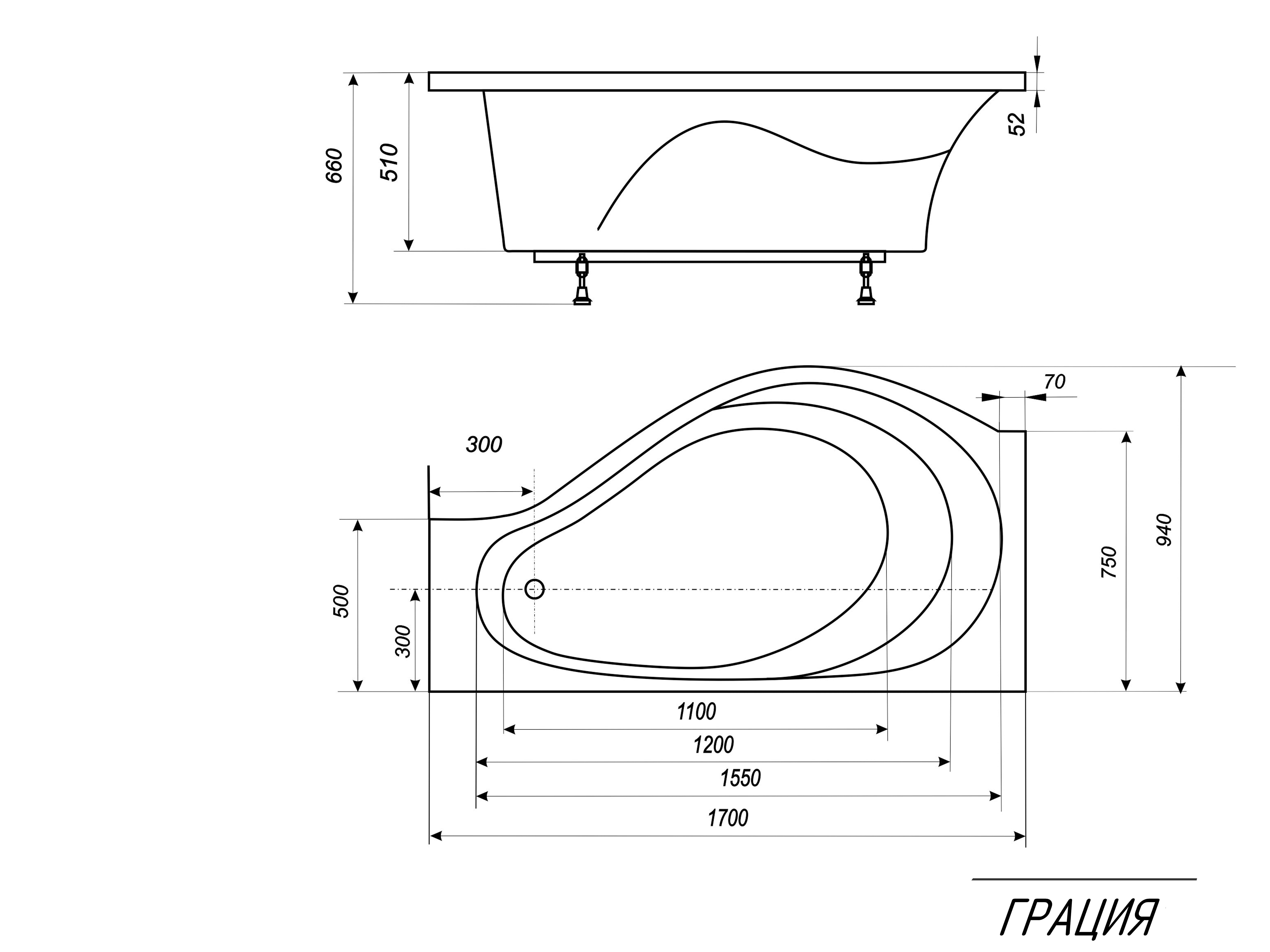 Схема ванны Эстет Грация 170x94 с гидромассажем (Правая)