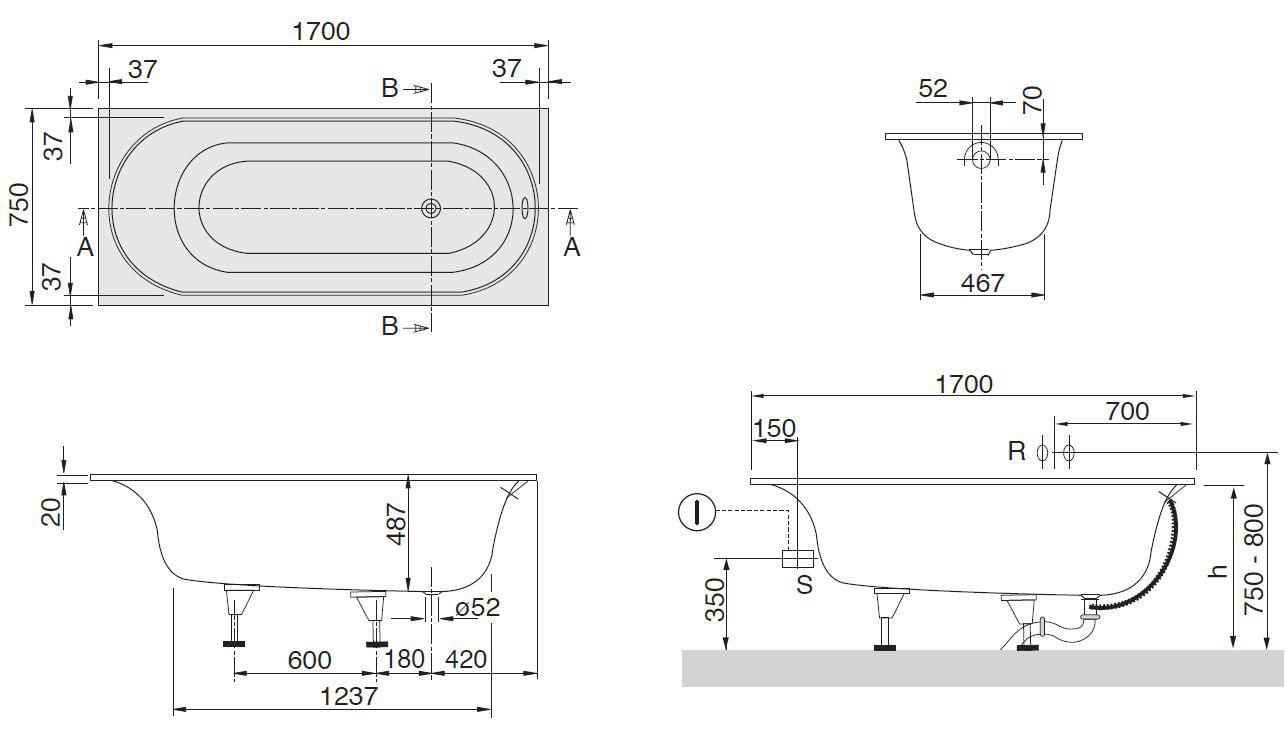 Схема ванна Квариловая ванна Villeroy & Boch Cetus 170x75