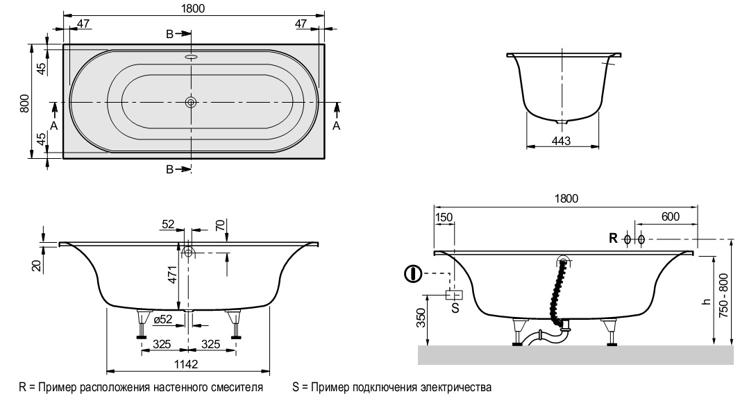 Схема ванна Квариловая ванна Villeroy & Boch Cetus 180x80