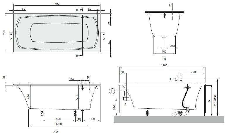 Схема ванна Квариловая ванна Villeroy & Boch My Art 170x75