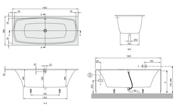 Схема ванна Квариловая ванна Villeroy & Boch My Art 180x80