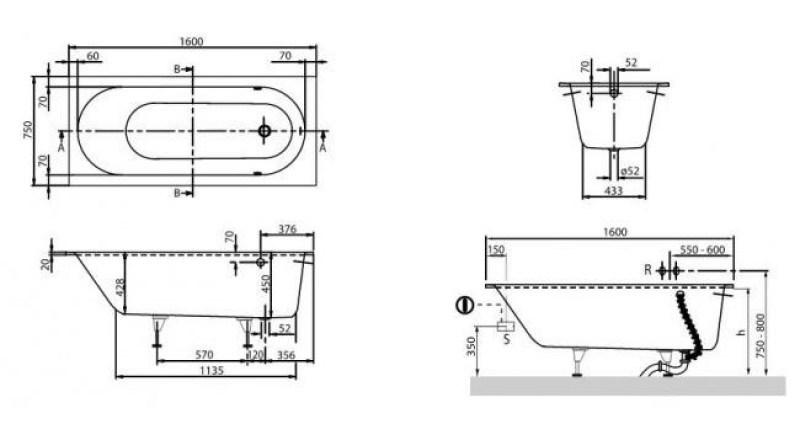 Схема ванна Квариловая ванна Villeroy & Boch Oberon 160x70