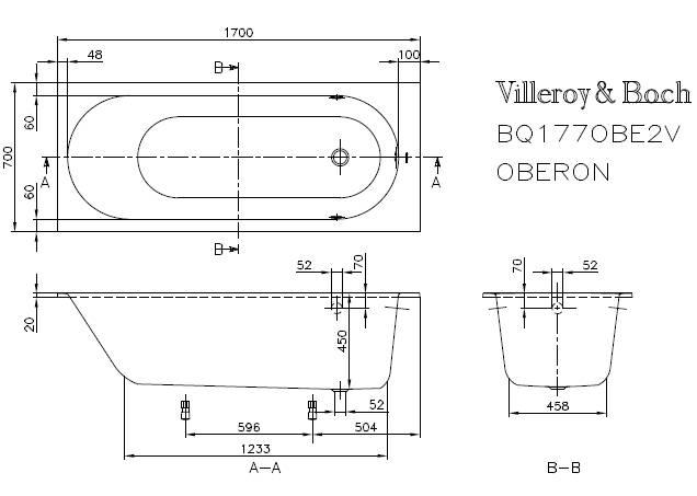 Схема ванна Квариловая ванна Villeroy & Boch Oberon 170x70