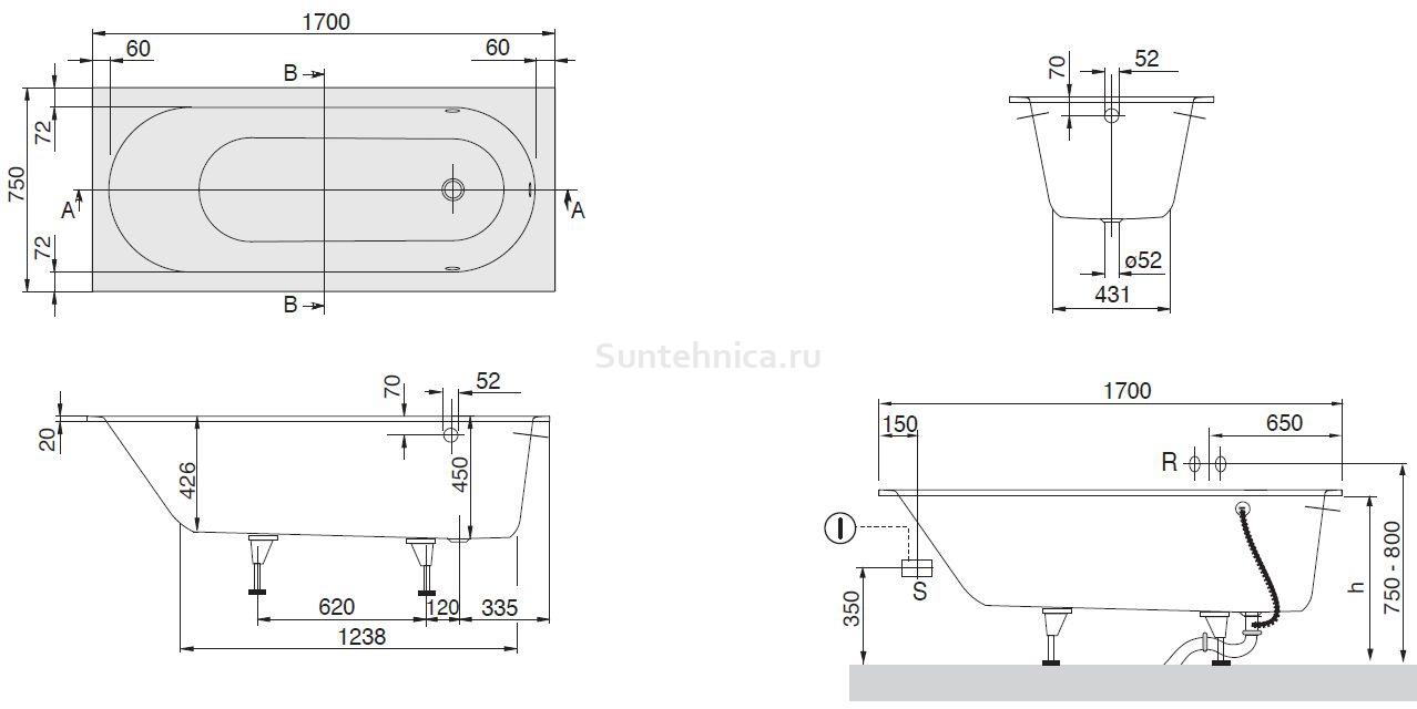 Схема ванна Квариловая ванна Villeroy & Boch Oberon 170x75