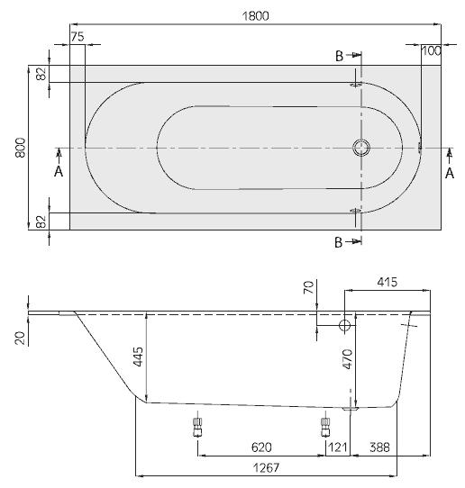 Схема ванна Квариловая ванна Villeroy & Boch Oberon 180x80