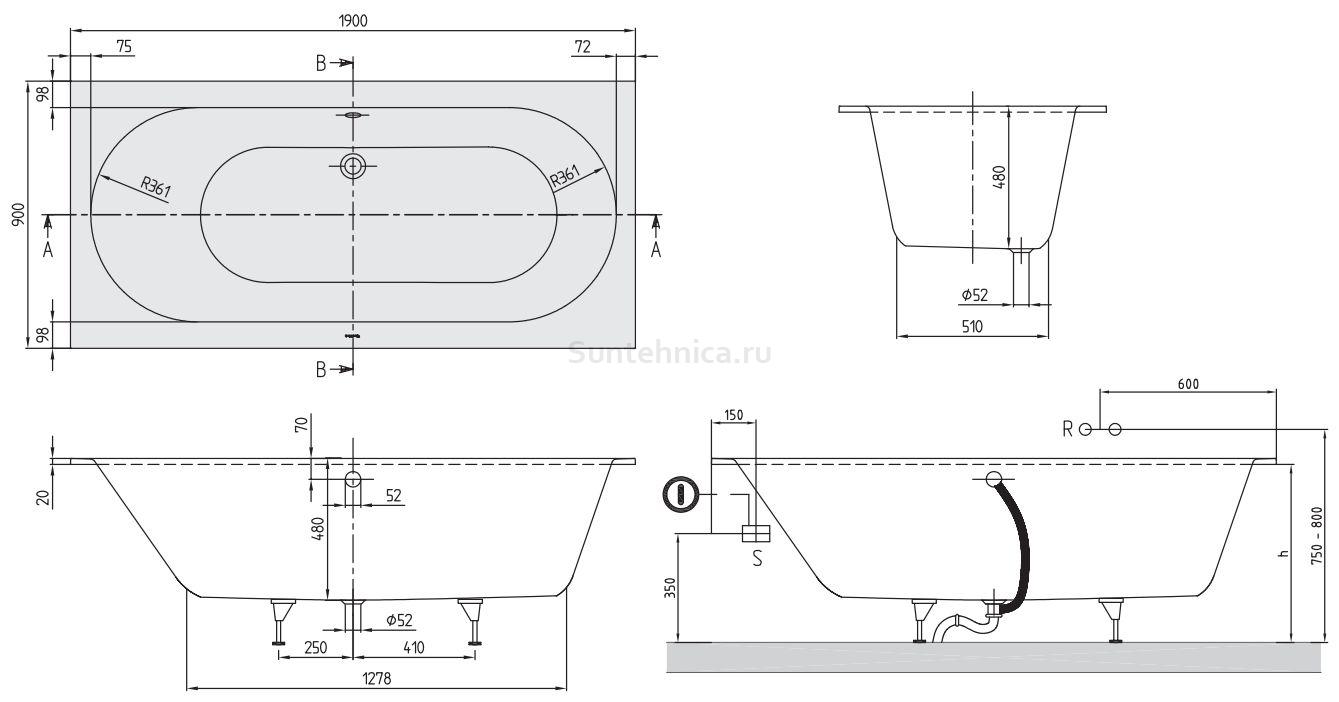 Схема ванна Квариловая ванна Villeroy & Boch Oberon 190x90