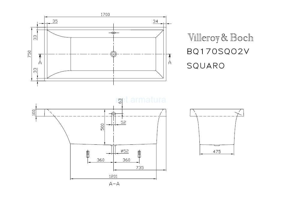 Схема ванна Квариловая ванна Villeroy & Boch Squaro 170x75