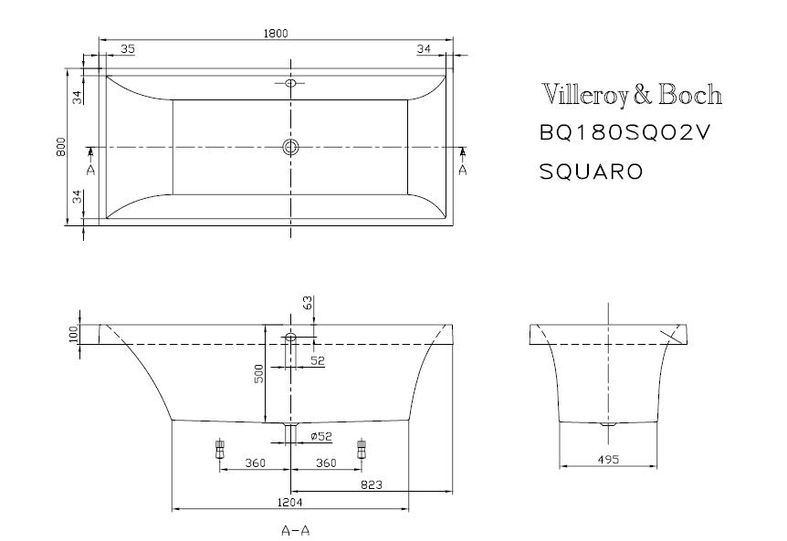 Схема ванна Квариловая ванна Villeroy & Boch Squaro 180x80